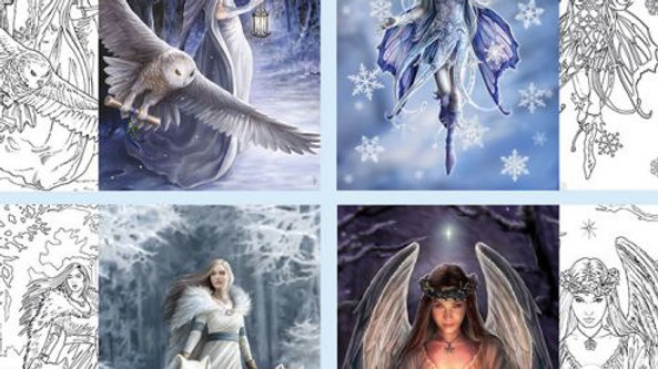 Anne Stokes Winter Fantasy Colour In Cards