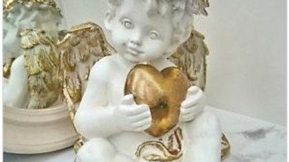 LED Cherub Holding Heart