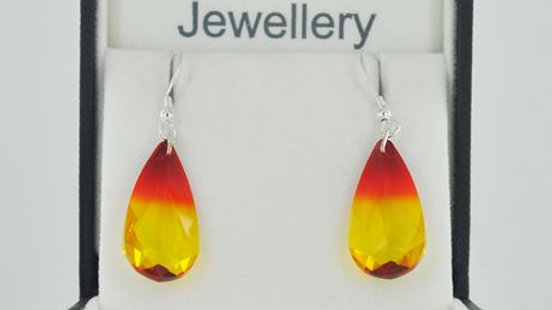 Tear Drop Earrings Fire Opal