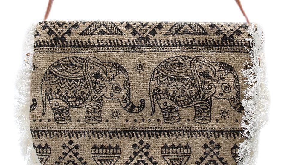 Black Elephant Fringe Bag