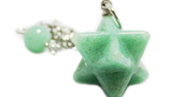 Aventurine Merkaba Pendulum with velvet pouch & instructions