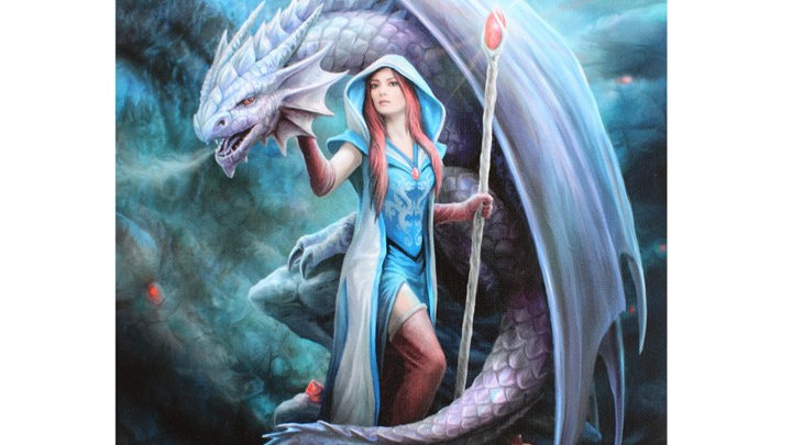 Dragon Mage Anne Stokes Canvas Picture 25cm X 19cm