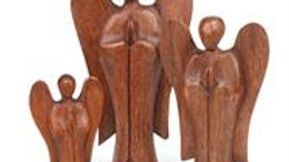 Hand Carved Wooden Angel Statue - Large