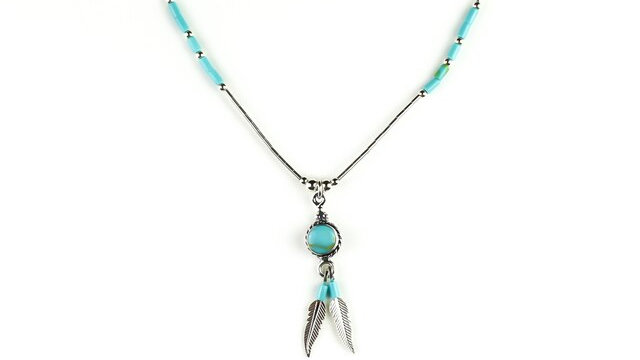 Shield Necklace With Turquoise and Silver Feathers