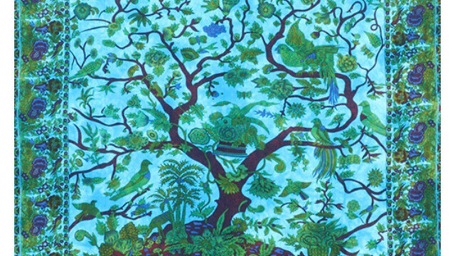 Blue Tree of Life Bedspread, Rug or Wallhanging