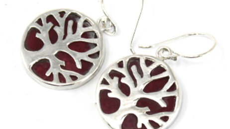 Tree of life Silver Coral Earings