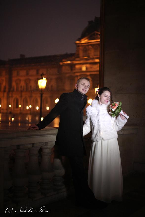 Ночная фотосессия в Лувре