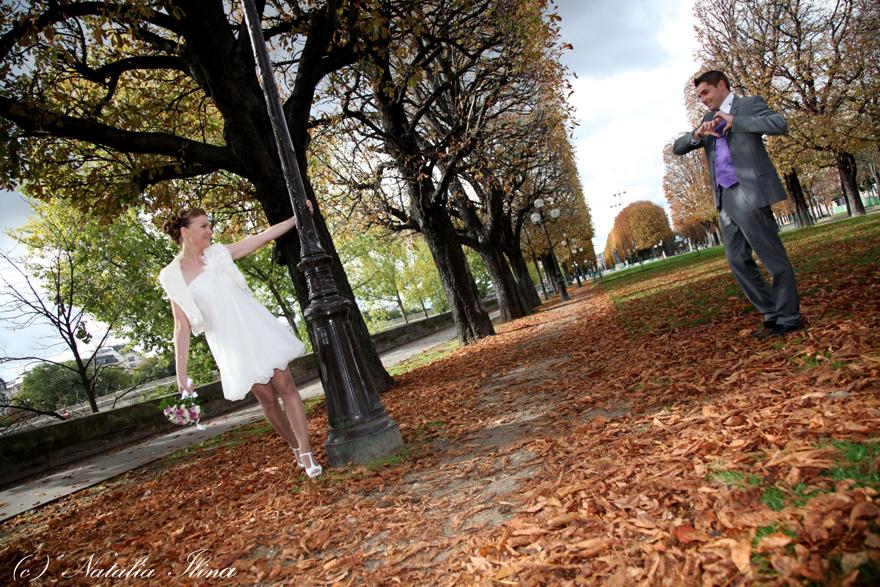 Свадьба в осеннем парке