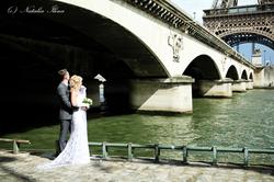 свадебная пара, мост, сена, река,