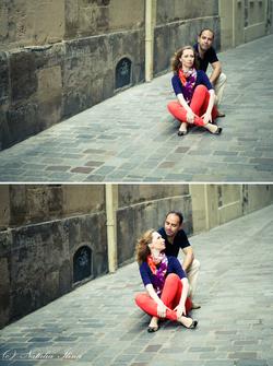 Пара сидит на улице