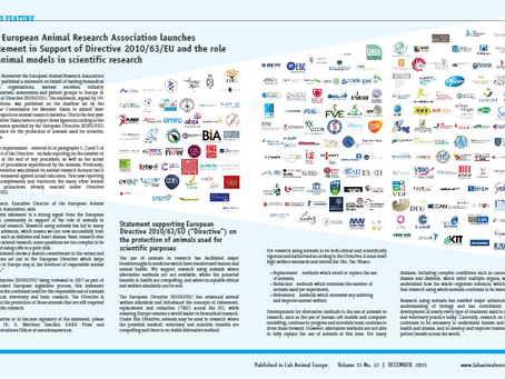 Statement in support of European Directive 2010/63 features in Lab Animal Europe