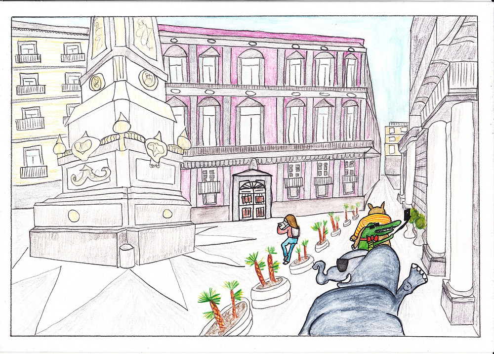 """Palazzo Corigliano, Napoli. Io e le mie letture """"in compagnia"""", ai tempi universitari. Illustrazione fatta con acquerello e pastelli."""