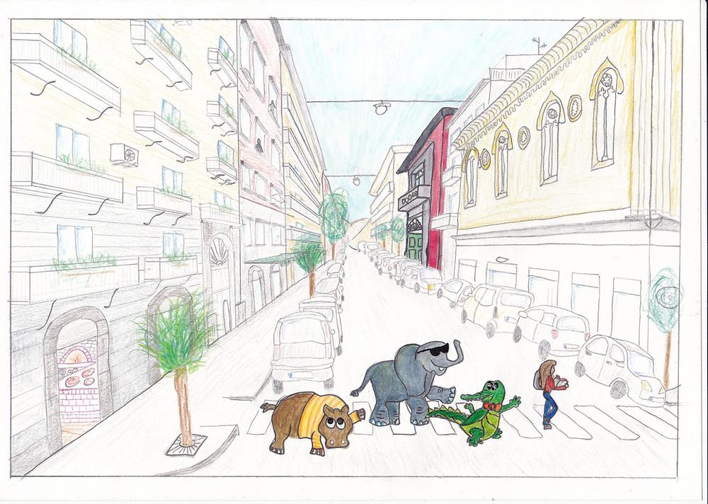 """via Duomo, Napoli. Io e le mie letture """"in compagnia"""", ai tempi universitari. Illustrazione fatta con acquerello e pastelli."""