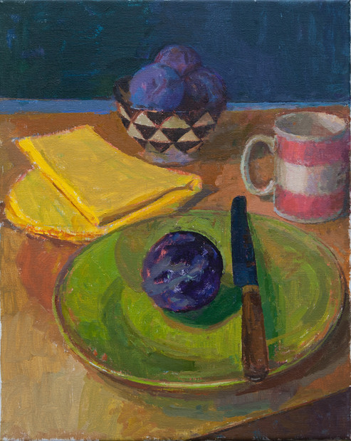 Still Life with Plums and Black and White Bowl