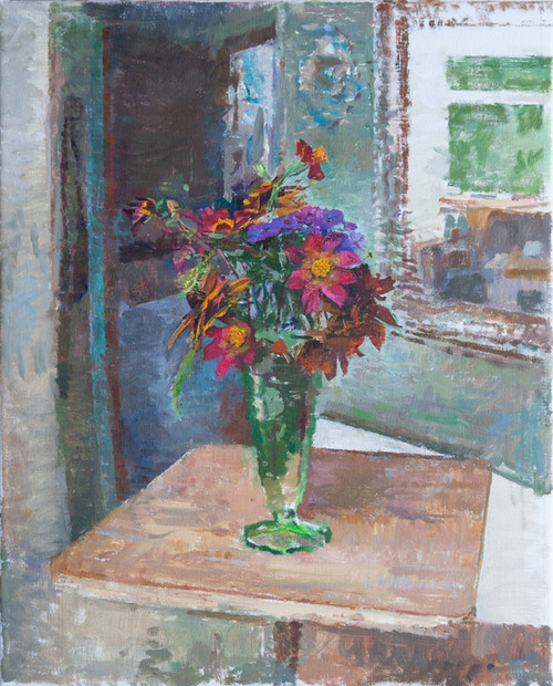 Flowers in a Vase with Mirror - Sold