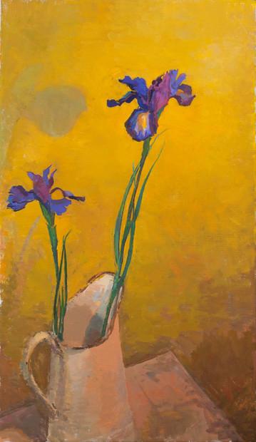 Irises in an Enamel Jug
