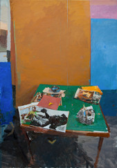 Card Table with Yellow Cloth - Sold