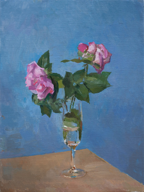 Two Roses in a Champagne Flute - Sold