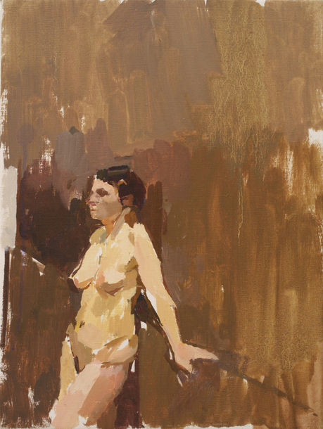 Nude Leaning against a Linen Press
