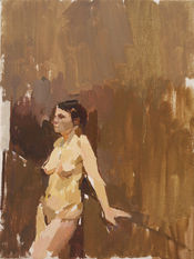 Nude Leaning against a Linen Press - Sold