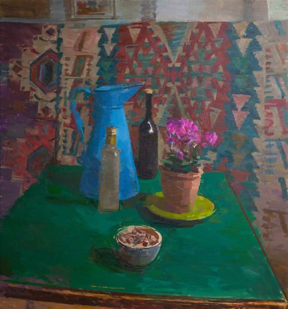 Still Life with Blue Jug and Cyclamen