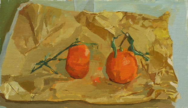 Clementines on a Brown Paper Bag - Sold