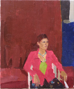 Seated Woman, Green, Pink and Crimson