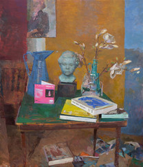 Portrait Bust, Matisse Book and Magnolia Branch on a Card Table - Sold