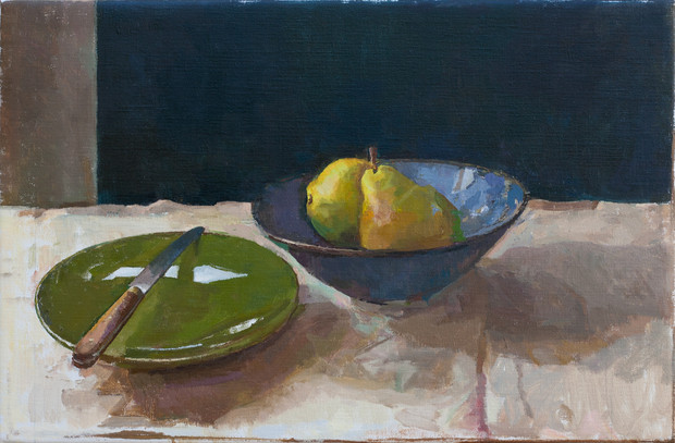 Pears in a Bowl with a Green Plate