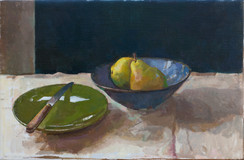 Pears in a Bowl with a Green Plate - Sold