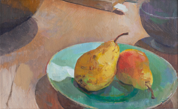 Two Pears on a Turquoise Plate no. 1 - Sold