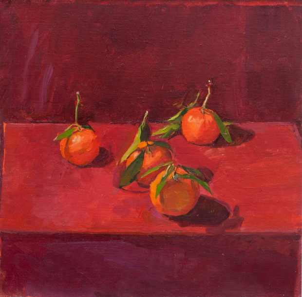 Clementines on Red - Sold