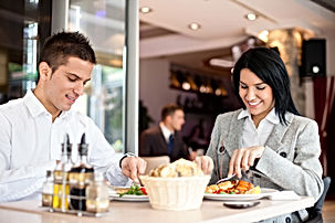 Business people enjoy lunch meal at rest