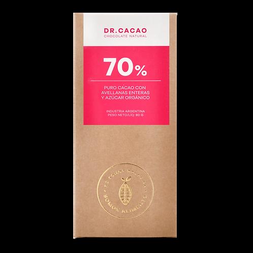 Dr. Cacao - Chocolate 70% - Avellanas y Azúcar Orgánica