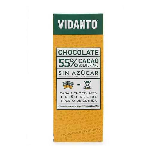 Vidanto - Chocolate Ecuatoriano - 55%Cacao Sin Azúcar