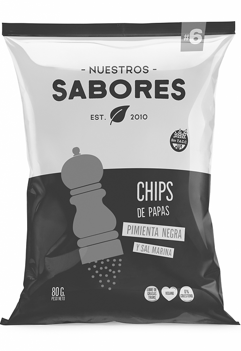Nuestros Sabores - Chips de Papas Rústicas - Pimienta y Sal marina
