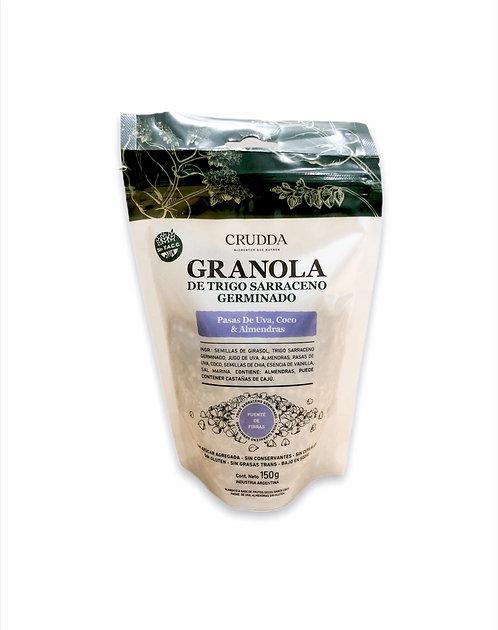 Crudda - Granola Trigo Sarraceno Germinado - Pasas de Uva, Coco & Almendras