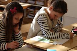 Primaria Schülerinnen in der Freiarbeit