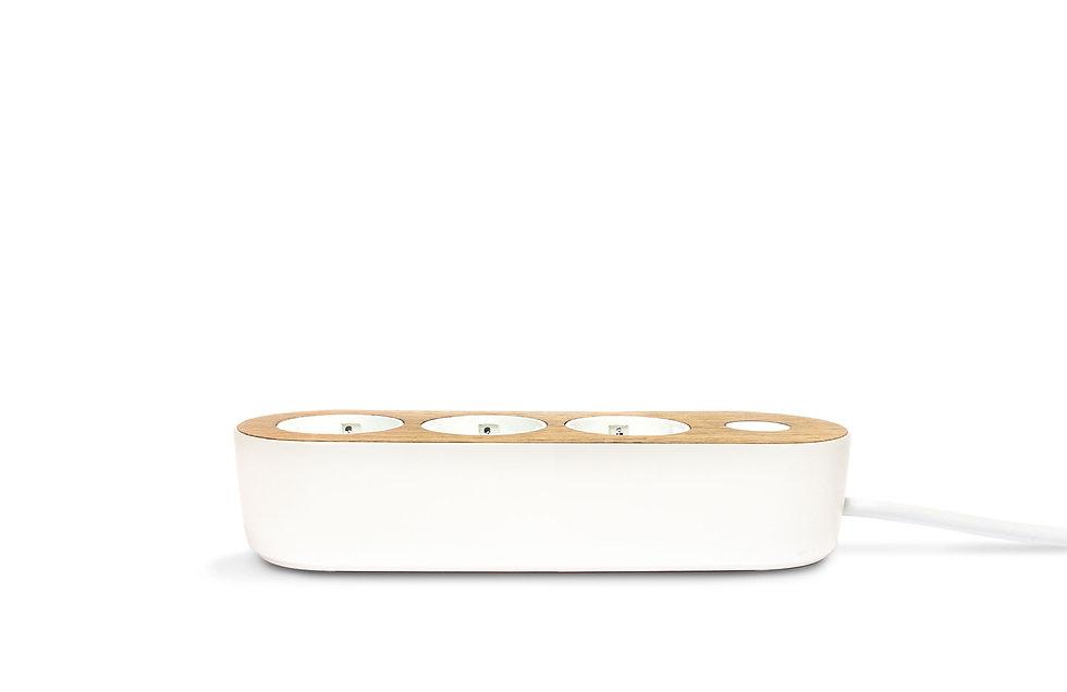 Design power strip with oak wooden top on white background side view Nolla strip Finnish design