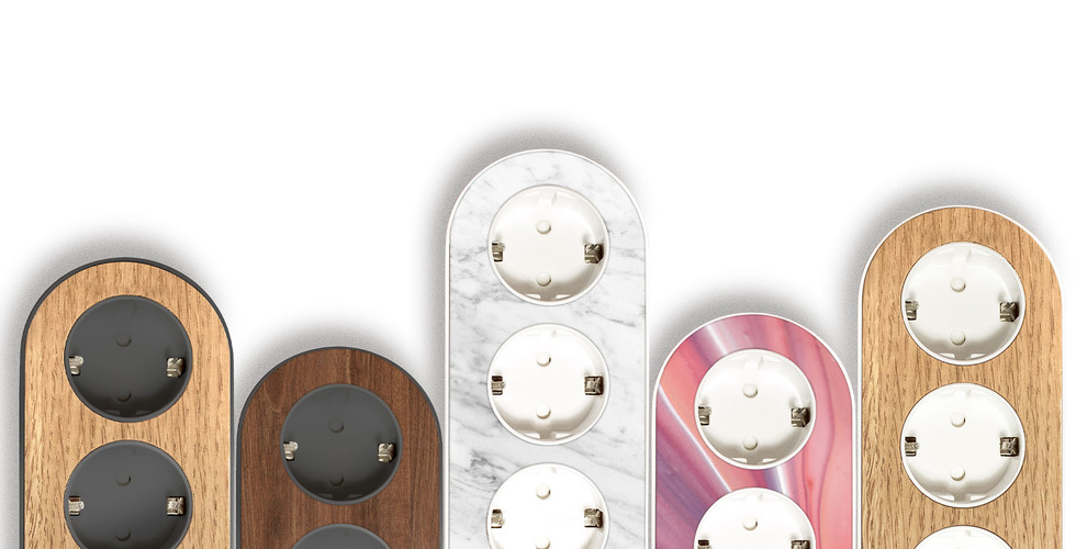 Multiple design power strips with different colored tops