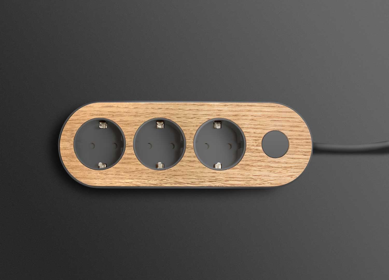 dark nolla strip with oak top