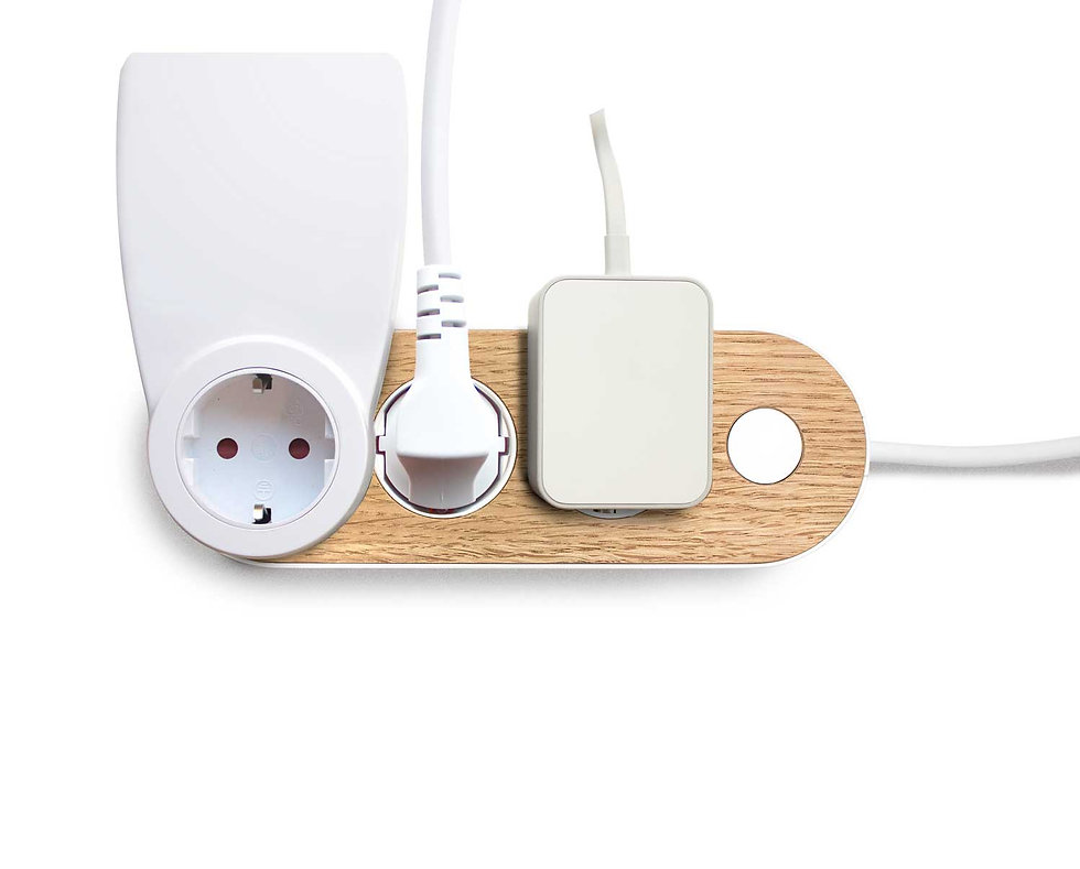Design power strip with oak wooden top Nolla strip Finnish design many different sized plugs in power strip