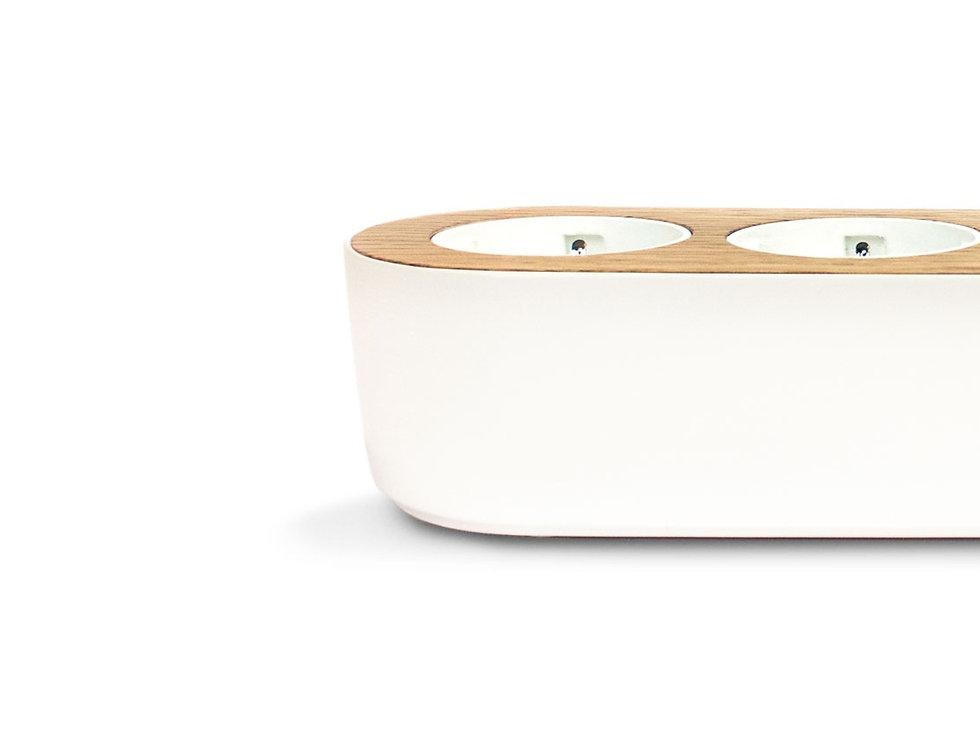 Design power strip with oak wooden top Nolla strip Finnish design
