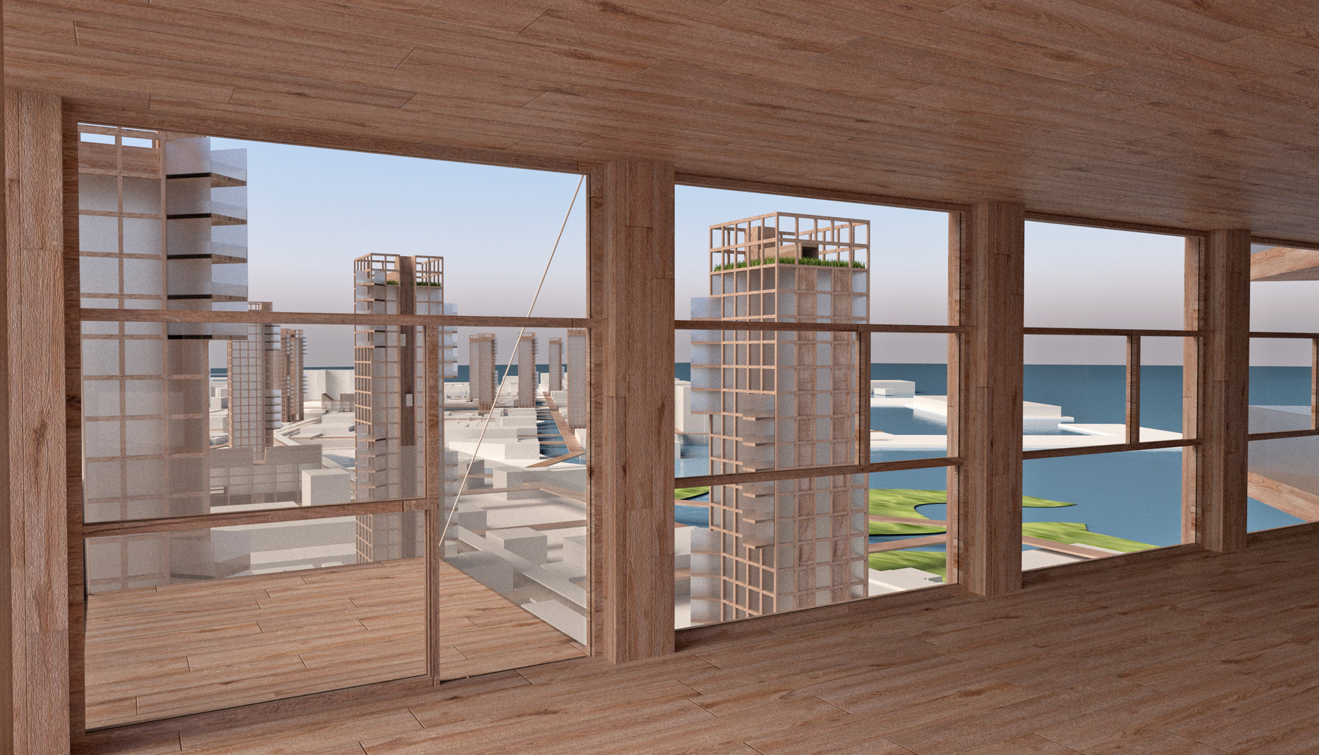 All units have corner exposures, harbor views and cross ventilation.  Open air elevators + common roof gardens contribute to healthy environment.