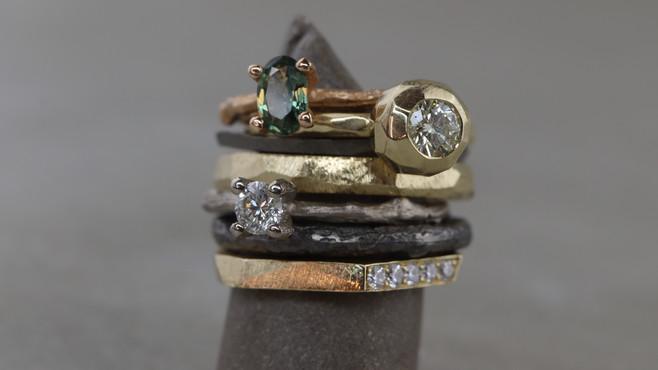 Ringstack: Ast-Ringe, Bubble-Ring, Facetten-Ringe