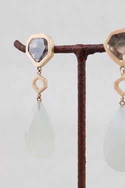 Diamant Ohrringe Mondstein