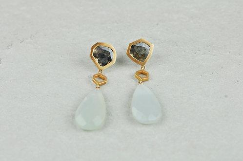 Ohrringe Diamantscheibe Mondstein | Unikat
