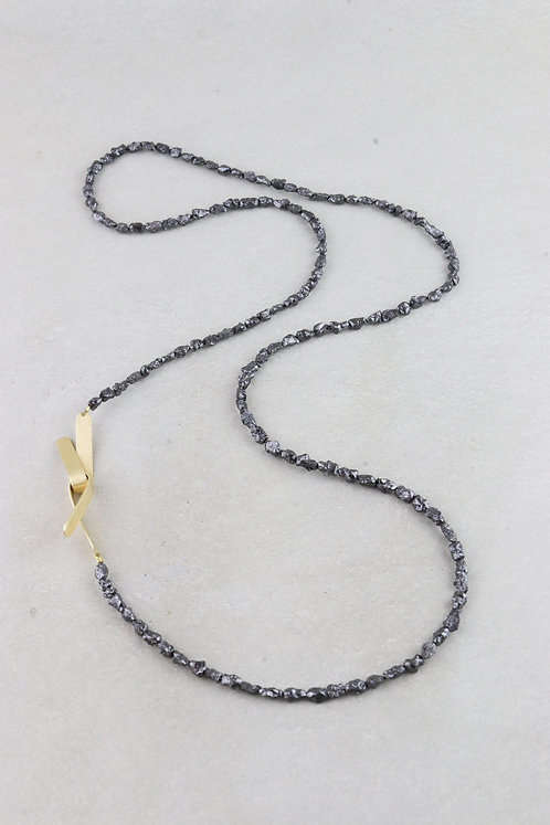 Kette Rohdiamanten schwarz   Unikat