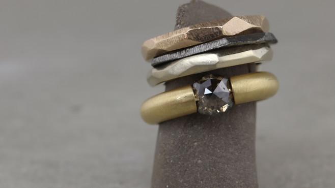 Ringstack: Facetten-Ringe, Hexagon-Ring