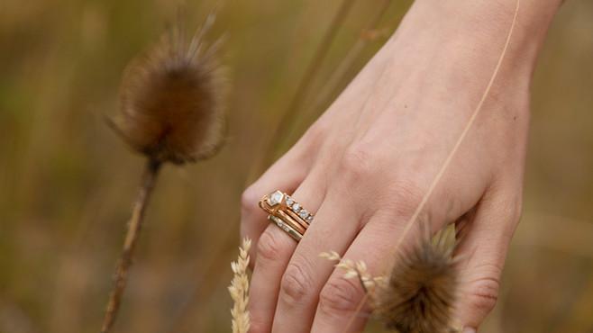 Ringstack: Salt&Pepper Memory-Ring, Hexagon-Ring, Ring Royal,